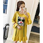 Mujer Línea A Camiseta Vestido Noche Simple,Estampado Bloques Escote Redondo Sobre la rodilla Mangas largas Algodón Primavera Otoño Tiro