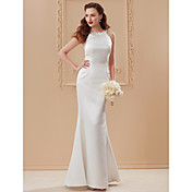 Trompeta / Sirena Joya Hasta el Suelo Satén Vestidos de novia hechos a medida con Recogido Lateral por LAN TING BRIDE®