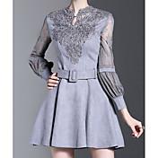 Mujer Línea A Vestido Noche Simple,Un Color Cuello Barco Sobre la rodilla Mangas largas Algodón Primavera Otoño Tiro Medio Microelástico