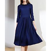 Mujer Corte Swing Vestido Casual/Diario Simple,Un Color Escote en U Midi Mangas largas Algodón Primavera Otoño Tiro Medio Microelástico