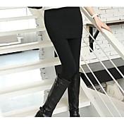 Mujer Grueso Sólido Poliéster Un Color Legging,Negro Gris