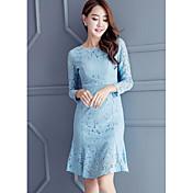 Mujer Vaina Encaje Vestido Noche Simple,Un Color Escote Redondo Sobre la rodilla Mangas largas Algodón Primavera Otoño Tiro Medio