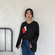 Mujer Chic de Calle Casual/Diario Camiseta,Escote en Pico Bloques Manga Larga Poliéster