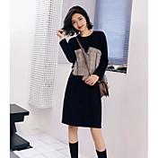 Mujer Corte Ancho Vestido Casual/Diario Simple,Bloques Escote Redondo Sobre la rodilla Mangas largas Algodón Primavera Otoño Tiro Medio