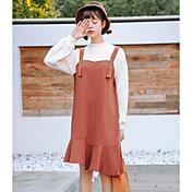 Mujer Corte Ancho Vestido Diario Vintage,Un Color Escote Chino Hasta la Rodilla Mangas largas Poliéster Invierno Otoño Tiro Medio