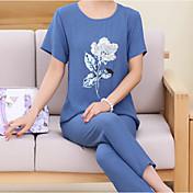Mujer Traje Pijamas,Floral Algodón Lino Azul Piscina Rosa Fucsia Azul claro