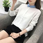 Mujer Activo Casual/Diario Invierno Primavera/Otoño Camisa,Cuello Camisero Un Color Mangas largas Algodón Medio