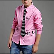 Camisa Chico Un Color A Rayas Letra Algodón Mangas largas Primavera Otoño Simple Blanco Negro Rosa