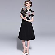 Mujer Chic de Calle / Sofisticado Línea A / Pequeño Negro Vestido - Bordado, Floral Midi