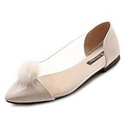 Mujer Zapatos Piel Sintética / PU Otoño Confort Bailarinas Tacón Plano Dedo Puntiagudo Negro / Beige