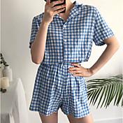 Mujer Cuello Camisero Traje Pijamas Un Color