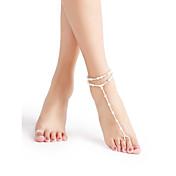 Perla Brazalete tobillo Sandalias Étnicas - Perla Bola Delicado, Bikini, Moda Blanco / Blanco Para Playa / Bikini / Mujer
