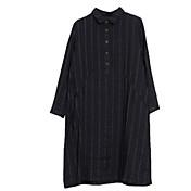 Mujer Vintage Estampado Camisa Un Color / A Rayas