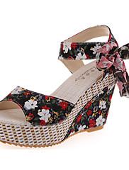 Feminino Sandálias Conforto Tecido Verão Casual Caminhada Laço Anabela Preto Vermelho Azul 7,5 a 9,5 cm