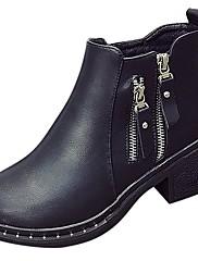 Feminino Sapatos Couro Ecológico Outono Inverno Solados com Luzes Botas Rasteiro Ponta Redonda Cadarço Para Casual Preto