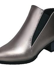 Feminino Sapatos Couro Ecológico Outono Inverno Solados com Luzes Botas Rasteiro Ponta Redonda Cadarço Para Casual Preto Prata