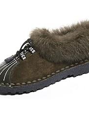 Feminino Sapatos Couro Ecológico Outono Inverno Solados com Luzes Rasos Rasteiro Ponta Redonda Cadarço Para Casual Preto Verde Khaki