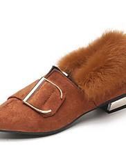 Feminino Sapatos Couro Ecológico Outono Inverno Solados com Luzes Rasos Rasteiro Ponta Redonda Cadarço Para Casual Preto Khaki