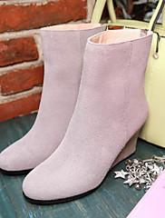 Feminino Sapatos Pele Nobuck Couro Ecológico Outono Inverno Conforto Botas Rasteiro Para Casual Preto Cinzento Roxo