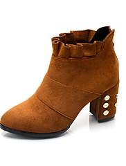 Feminino Sapatos Cashmere Outono Botas de Montaria Botas Salto Grosso Dedo Apontado Ziper Para Casual Preto Marron