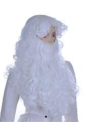 男性 人工毛ウィッグ キャップレス ロング丈 カーリー ホワイト ミドル部分の縫い目 レイヤード・ヘアカット コスプレ用ウィッグ コスチュームウィッグ