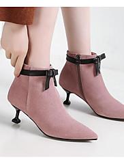Damer Sko Nubuck Læder PU Vinter Basispumps Modestøvler Støvler Stilethæl Ankelstøvler Til Afslappet Sort Grøn Lys pink