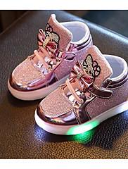 Para Meninas sapatos Couro Ecológico Outono Inverno Conforto Tênis Para Casual Dourado Prata Fúcsia Rosa claro