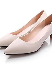 Feminino Sapatos Pele Primavera Outono Plataforma Básica Saltos Para Casual Preto Bege