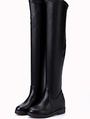 Feminino Sapatos Pele Napa Couro Ecológico Inverno botas de desleixo Forro de fluff Botas Salto Grosso Carregadores coxa-alta Para Casual