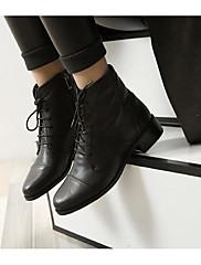 Dámské Boty Nappa Leather Podzim Zima Módní obuv Boty Kačenka Kotníčkové Pro Ležérní Černá
