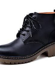 Damer Sko Nappalæder PU Vinter Militærstøvler Støvler Flad hæl Ankelstøvler Til Afslappet Sort Bourgogne