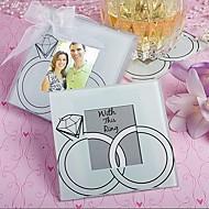 """""""Com este anel"""" anéis de casamento design de vidro favor coaster foto (2 por jogo)"""