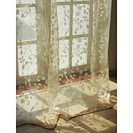 billige Gjennomsiktige gardiner-Stanglomme Propp Topp Fane Top Dobbelt Plissert To paneler Window Treatment Europeisk Stue 100% Polyester Imitert Lintøy Materiale