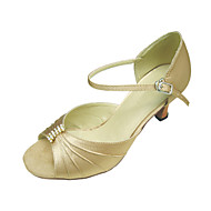 baratos Sapatilhas de Dança-Mulheres Dança de Salão / Sapatos de Salsa Tecido elástico Sandália Pedrarias / Presilha Salto Agulha Não Personalizável Sapatos de Dança Preto / Vermelho / Cor de Carne