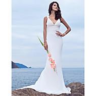 Havfrue V-hals Børsteslæb Chiffon Made-To-Measure Brudekjoler med Perlearbejde ved LAN TING BRIDE®