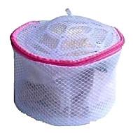 Sacola de roupa interior de malha de tecido violeta com moldura e fecho de correr