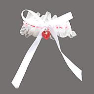 cheap Wedding Garters-Garter Organza Satin Rhinestone Sweetheart Red Wedding Accessories