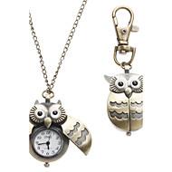 Kadın's Cep kol saati Kolye Saatleri Anahtarlık Saati Moda Saat Quartz baykuş Stili Alaşım Bant Baykuş Bronz