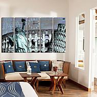 billige Veggklokker-moderne scenisk lerret veggklokke 5stk K024