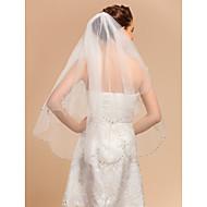 preiswerte Sale-Zweischichtig Spitzen-Saum Hochzeitsschleier Fingerspitzenlange Schleier Mit Applikationen 35,43 in (90cm) Tüll A-linie,Ball Kleid,