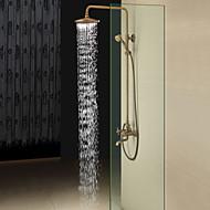 billige Rabatt Kraner-Antikk messing badekar dusj kranen med 8 tommers dusjhode + hånddusj bad dusj mixer kraner