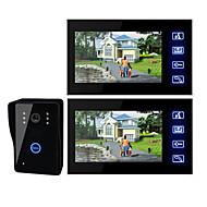 billige Dørtelefonssystem med video-7 tommers TFT LCD videodør med berørelsestast (1 kamera med to monitorer)