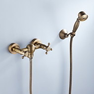 cheap Shower Faucets-Antique Wall Mount Ceramic Valve Three Holes Antique Brass