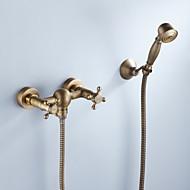 baratos Chuveiros-Torneira de Chuveiro - Artistíco / Retro Latão Antiquado Montagem Interior Válvula Cerâmica Bath Shower Mixer Taps / Duas alças de três furos