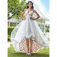 A-Linie Princess Špagetová ramínka Ke kolenům Asymetrické Organza Svatební šaty s Aplikace Nabírané po stranách podle LAN TING BRIDE®