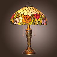 billige Lamper-Tiffany bordlamper med 2 lys i blossoms design-electroplate overflate