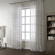 (Two Panels) Floral Country Embroidery Sheer Curtain