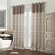 billige Gardiner-designer to paneler stripe brun roms polyester panelgardiner gardiner