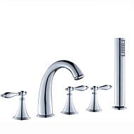 お買い得  浴槽用蛇口-コンテンポラリー ローマンバスタブ ハンドシャワーは含まれている 組み合わせ式 セラミックバルブ 五つ 3つのハンドル5つの穴 クロム, 浴槽用水栓