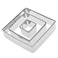 kvadratisk formet rustfritt stål kakeskiver 3 stk, frisk stil høy kvalitet